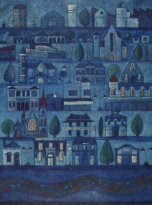 Blues Town Acrylic & Ink on Blue Lake cotton paper  74x54cm