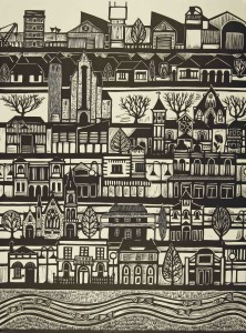 Our Town Linocut 76x56cm edition of 40